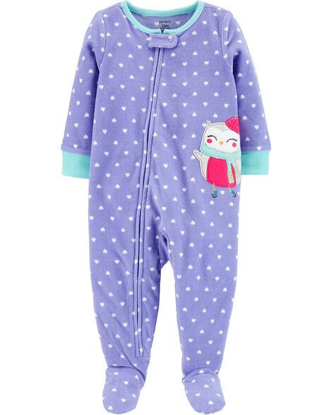 Pyjama 1 pièce à pieds en molleton motif hibou