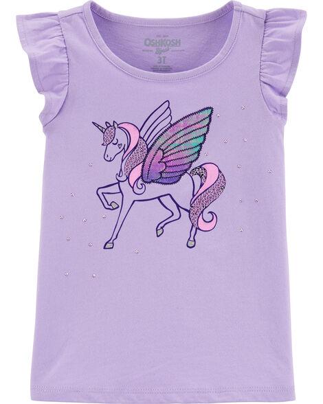 T-shirt à manches volantées et licorne