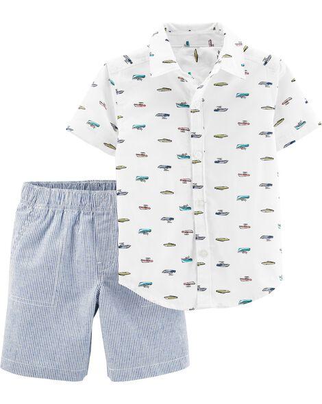 Ensemble 2 pièces chemise boutonnée à bateau et short rayé
