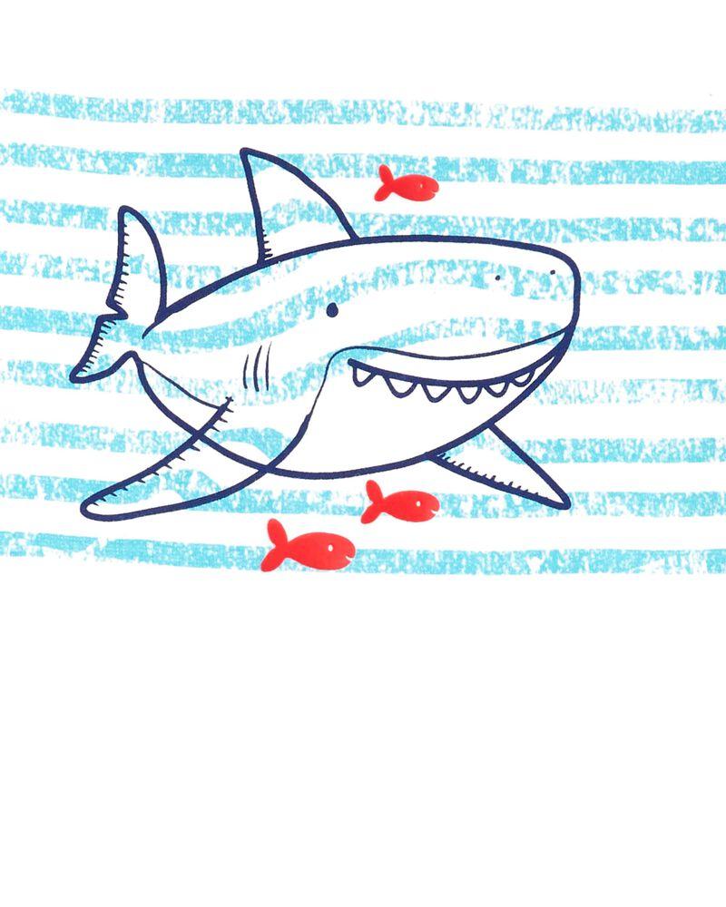 Ensemble 2 pièces t-shirt en jersey requin rayé et short en popeline, , hi-res