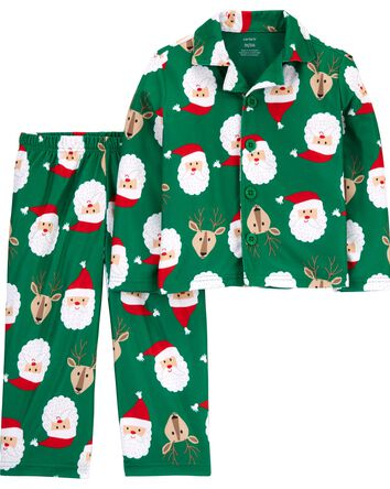 2-Piece Santa Coat-Style Fleece PJs