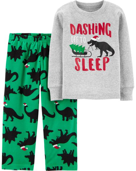2-Piece Christmas Dinosaur Snug Fit Cotton & Fleece PJs