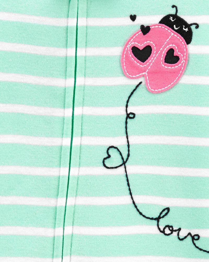 Pyjama 1 pièce à pieds en coton ajusté à coccinelle, , hi-res