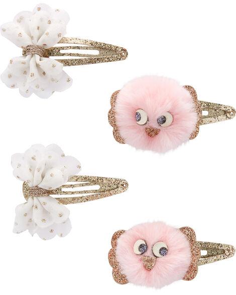 4-Pack Pompom Bird & Bow Hair Clips