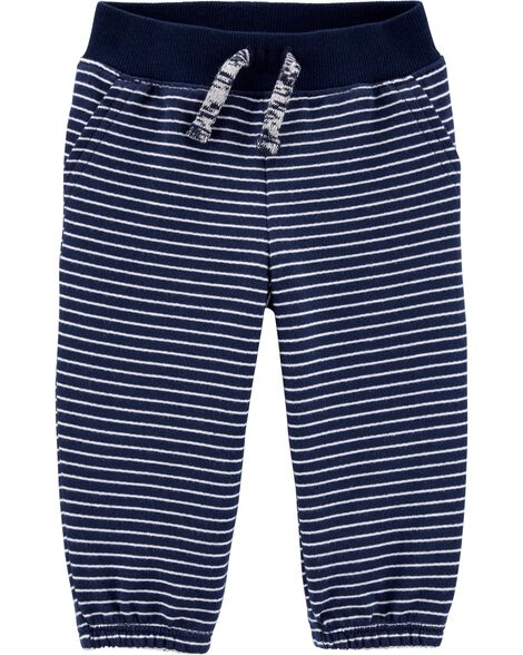 Striped Pull-On French Terry Pants
