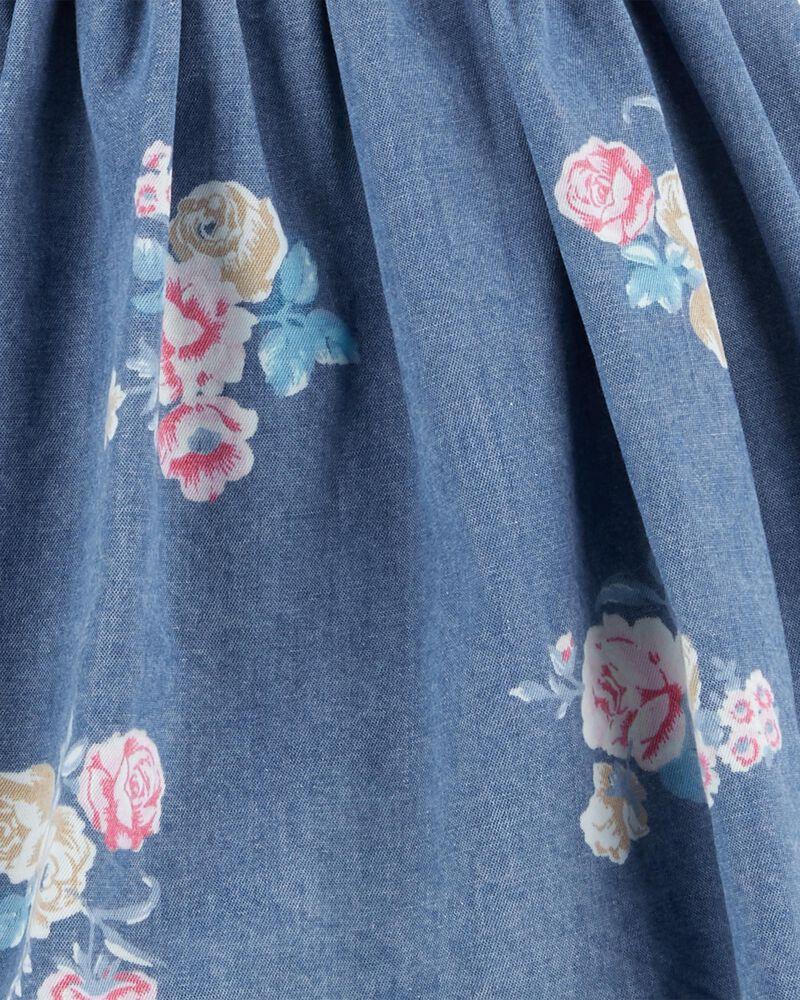 Robe chasuble en denim fleuri, , hi-res