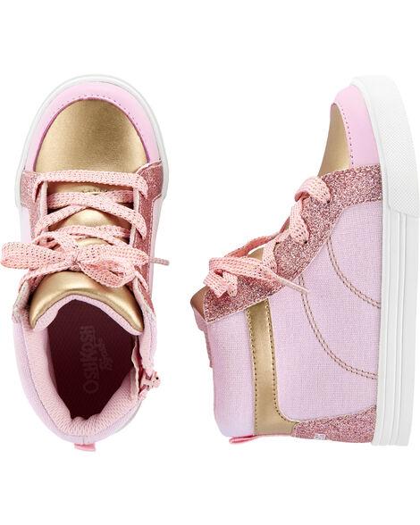 Chaussures à tige haute à effet métallique or