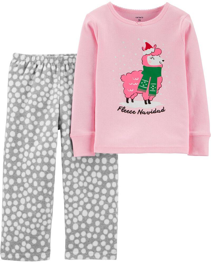 2-Piece Llama Snug Fit Cotton & Fleece PJs, , hi-res