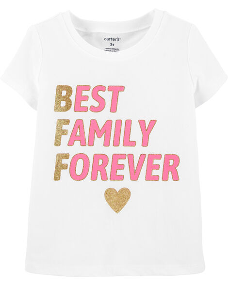 T-shirt en jersey à énoncé scintillant Best Family Ever