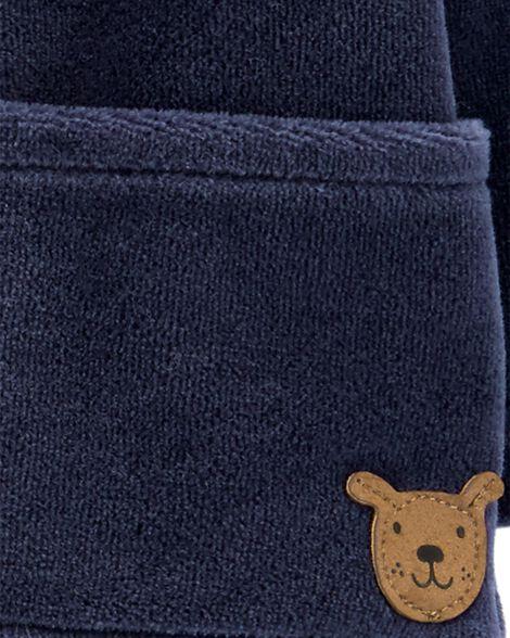 Ensemble 2 pièces haut en velours et pantalon rayé