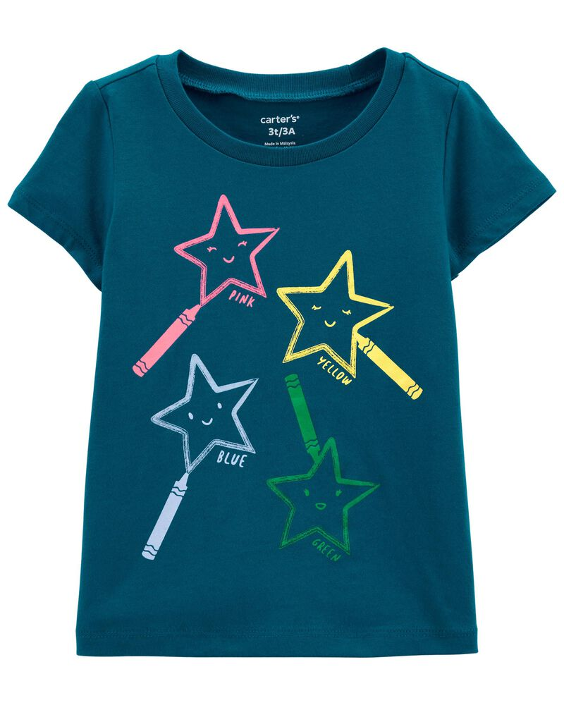T-shirt en jersey étoiles aux crayons, , hi-res