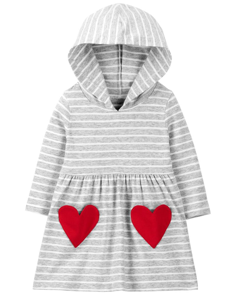 Heart Hooded Jersey Dress, , hi-res