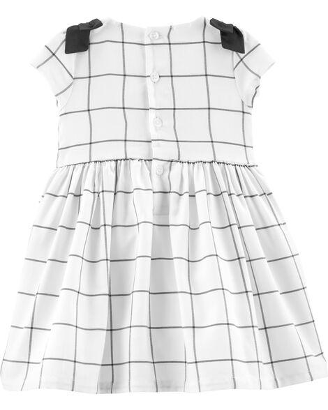 Checkered Satin Holiday Dress