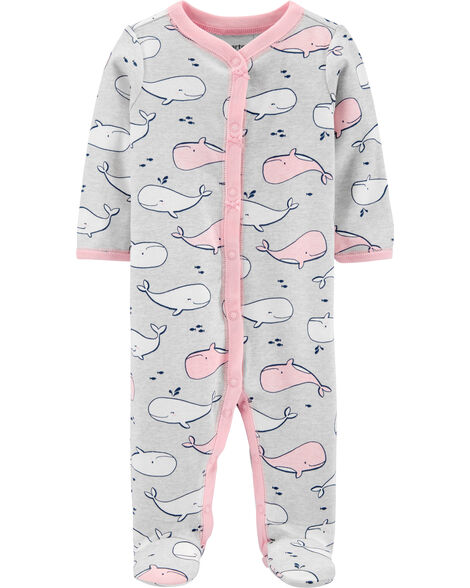 Whale Snap-Up Cotton Sleep & Play