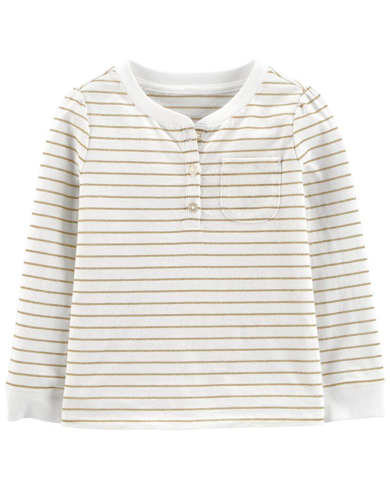 T-shirt henley à rayures scintillantes, , hi-res