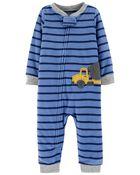 Pyjama 1 pièce en molleton avec pieds motif de camion de construction, , hi-res