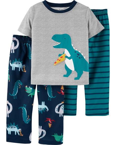 Pyjama 3 pièces en polyester à dinosaure et pizza