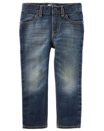 Jeans droit - délavage teinté authe...