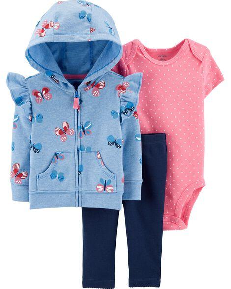 3-Piece Butterfly Little Jacket Set