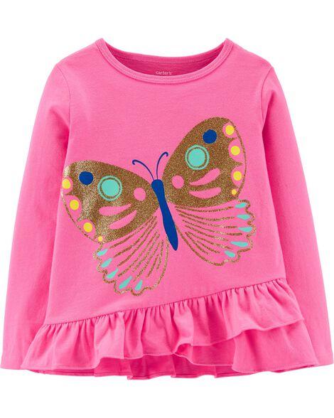 Glitter Butterfly Ruffle Jersey Tee