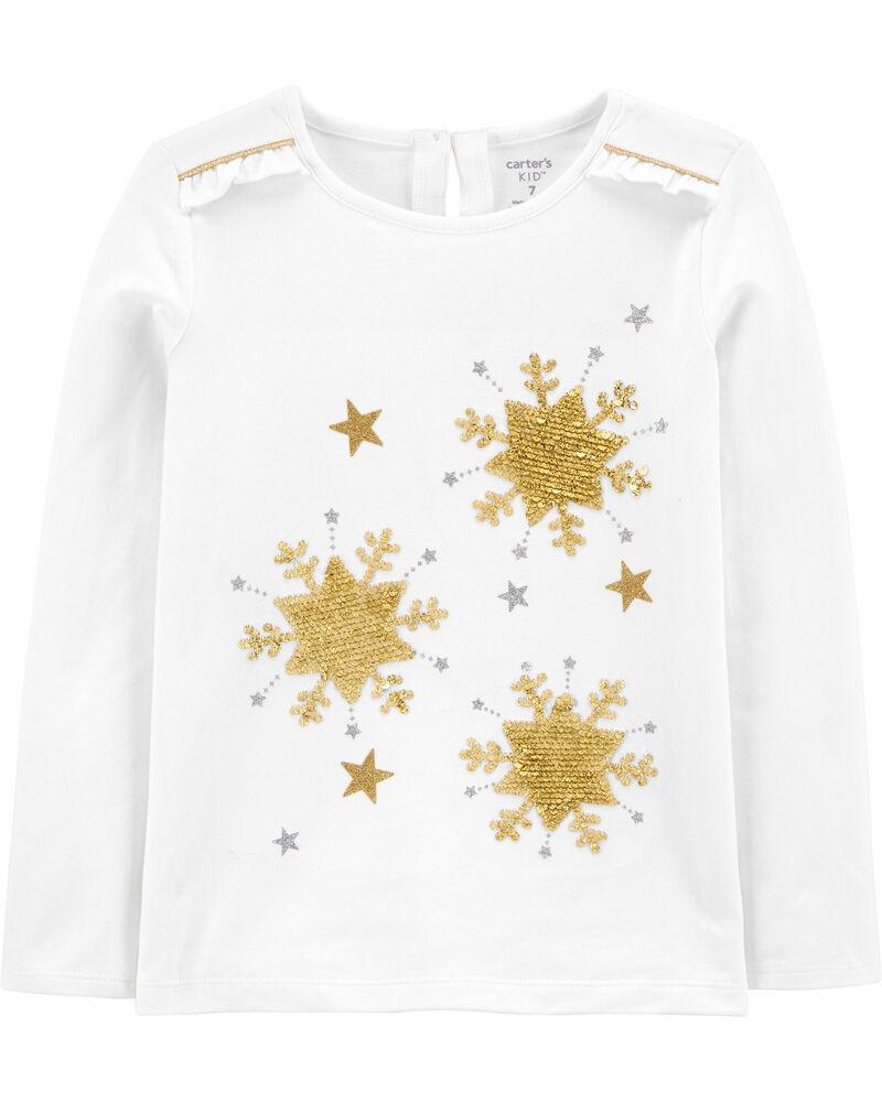T-shirt en jersey à étoile pailletée, , hi-res