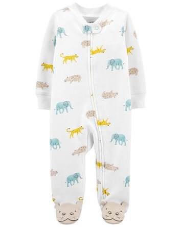 Animal 2-Way Zip Cotton Sleep & Pla...