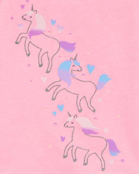 Glitter Unicorn Bow Back Jersey Tee