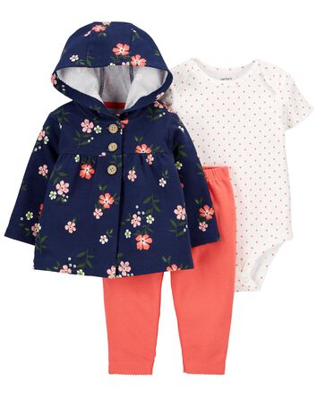 3-Piece Floral Little Cardigan Set