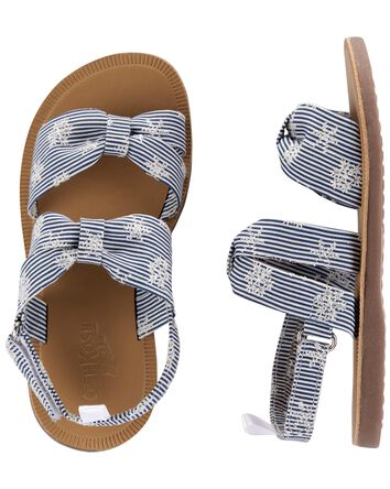Striped Knot Bow Sandals