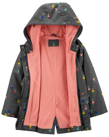 Fleece-Lined Heart Print Jacket