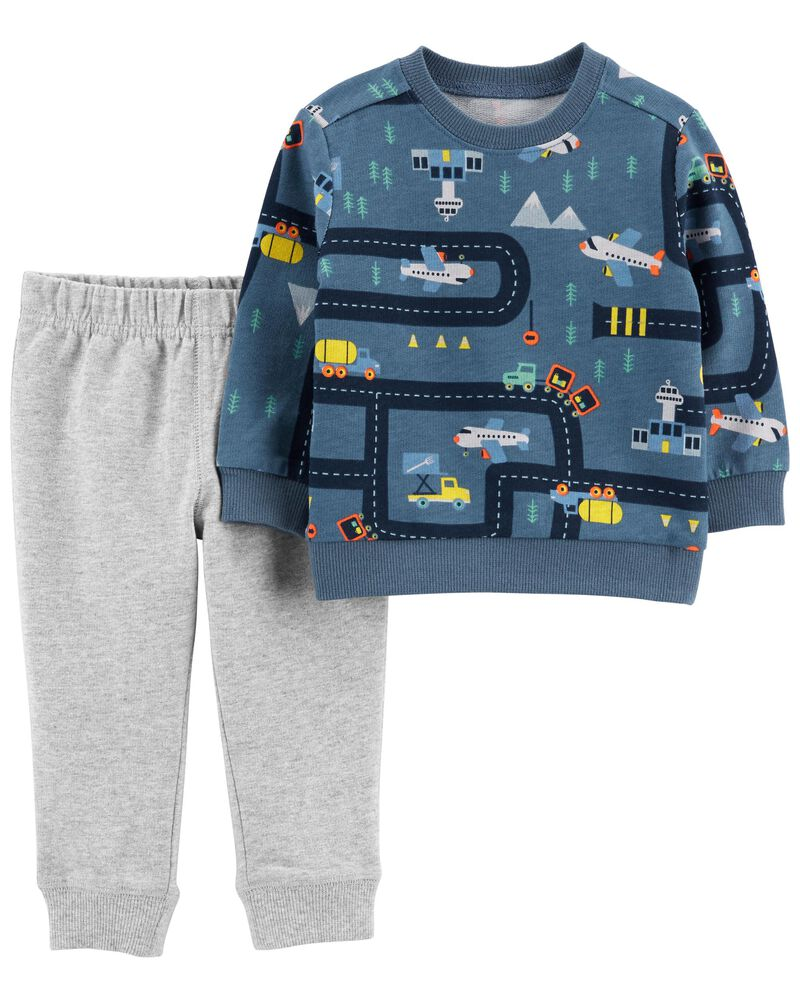 2-Piece Airplane French Terry Top & Jogger Set, , hi-res