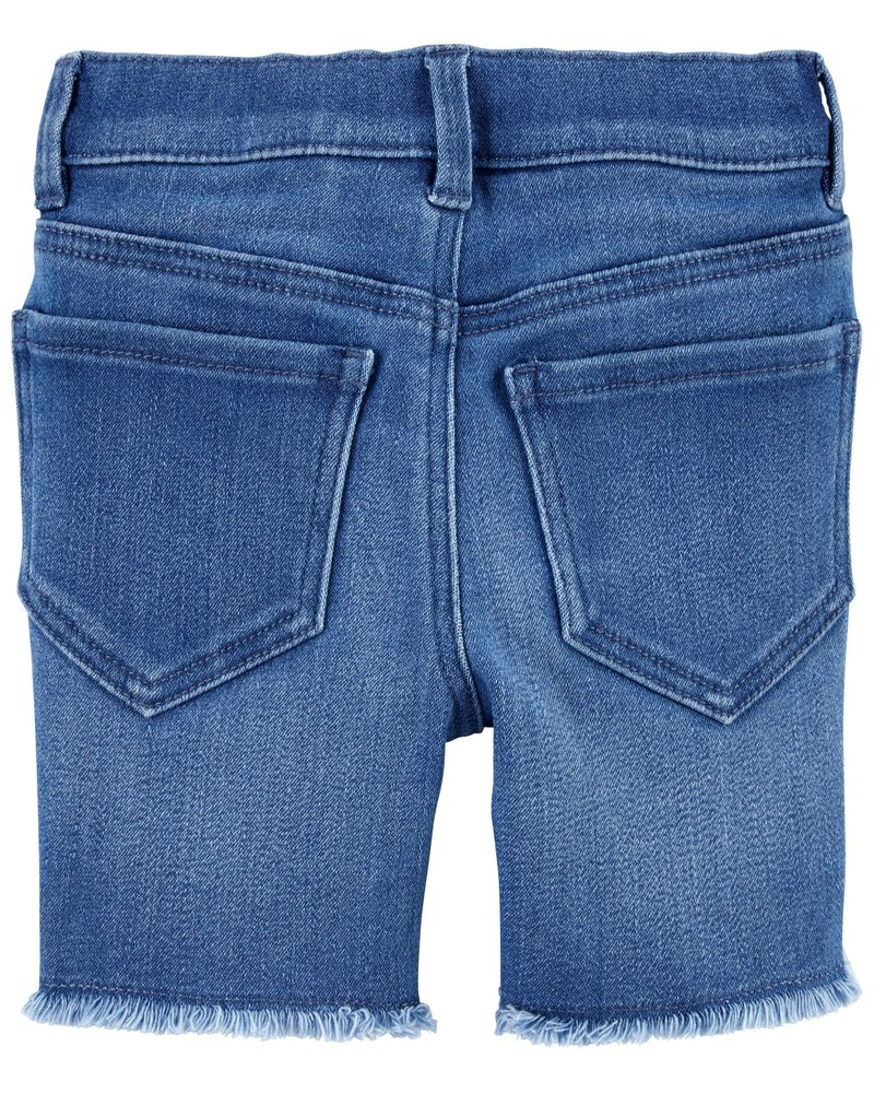 Embroidered Daisy Stretch Denim Shorts, , hi-res