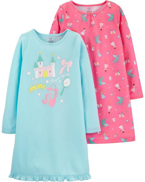 2-Pack Princess Poly Nightgowns