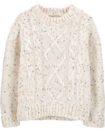 Nep Yarn Cable-Knit Sweater