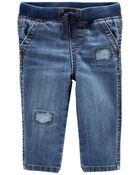 Pull-on Stretch Denim Patch Jeans, , hi-res