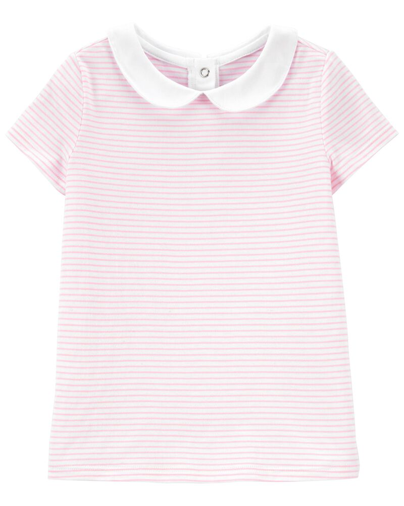 Striped Peter Pan Collar Top, , hi-res