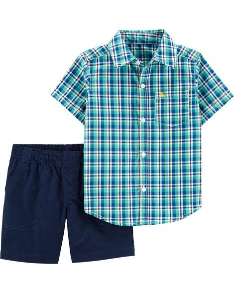 2-Piece Plaid Button-Front Shirt & Poplin Short Set