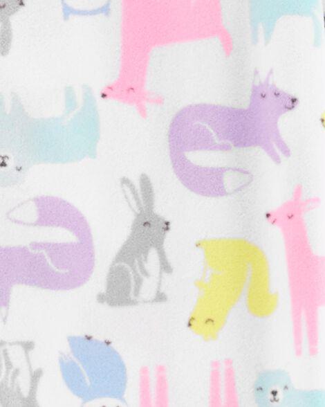 1-Piece Woodland Creatures Fleece Footie PJs