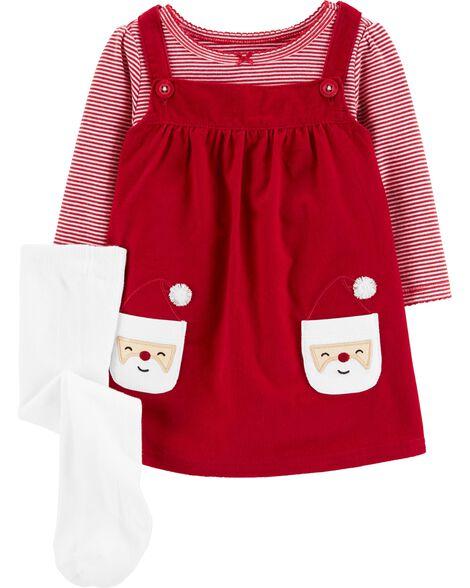 Ensemble 3 pièces cache-couche rayé et robe chasuble père Noël