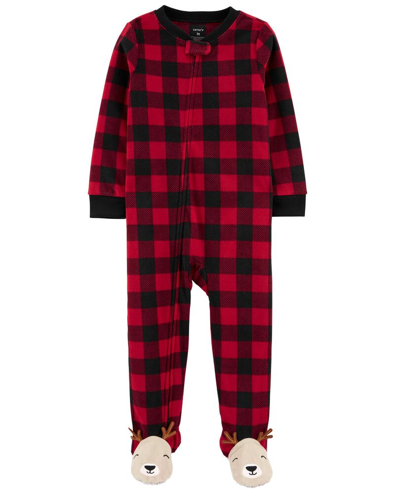 1-Piece Buffalo Check Fleece Footie PJs, , hi-res