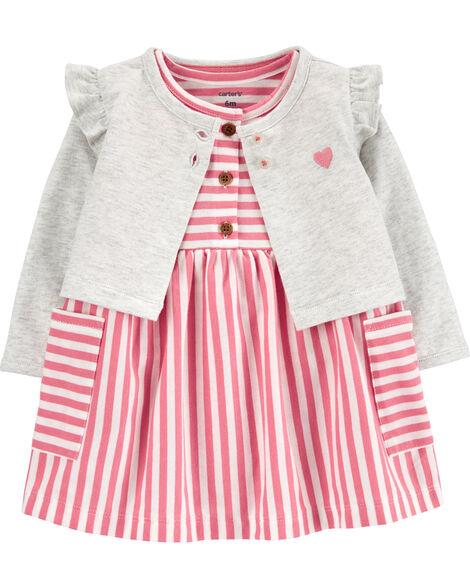 2-Piece Striped Bodysuit Dress & Cardigan Set