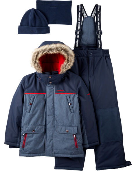 2-Piece Fleece-Lined Snowsuit with Bonus Hat & Neck Warmer