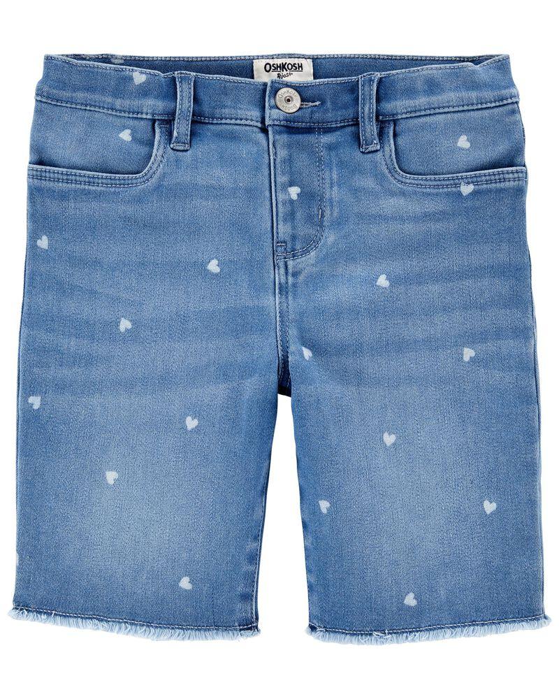 Heart Print Knit Denim Shorts, , hi-res