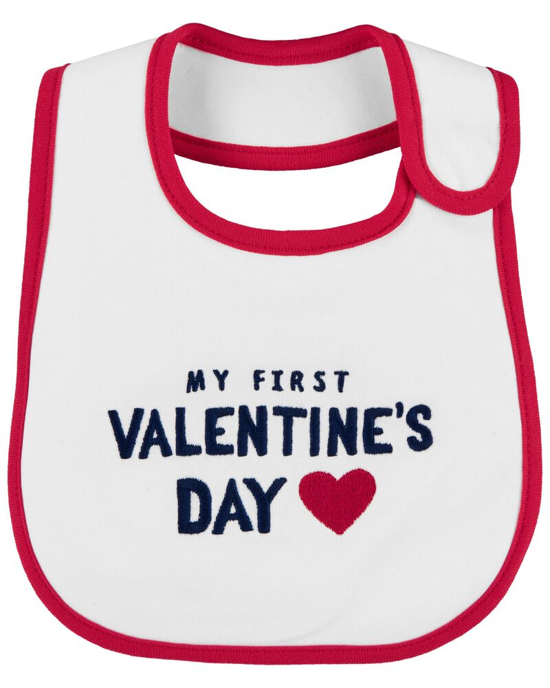 My First Valentine's Day Teething Bib, , hi-res