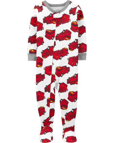 Pyjama 1 pièce à pieds ajusté à camion d'incendie