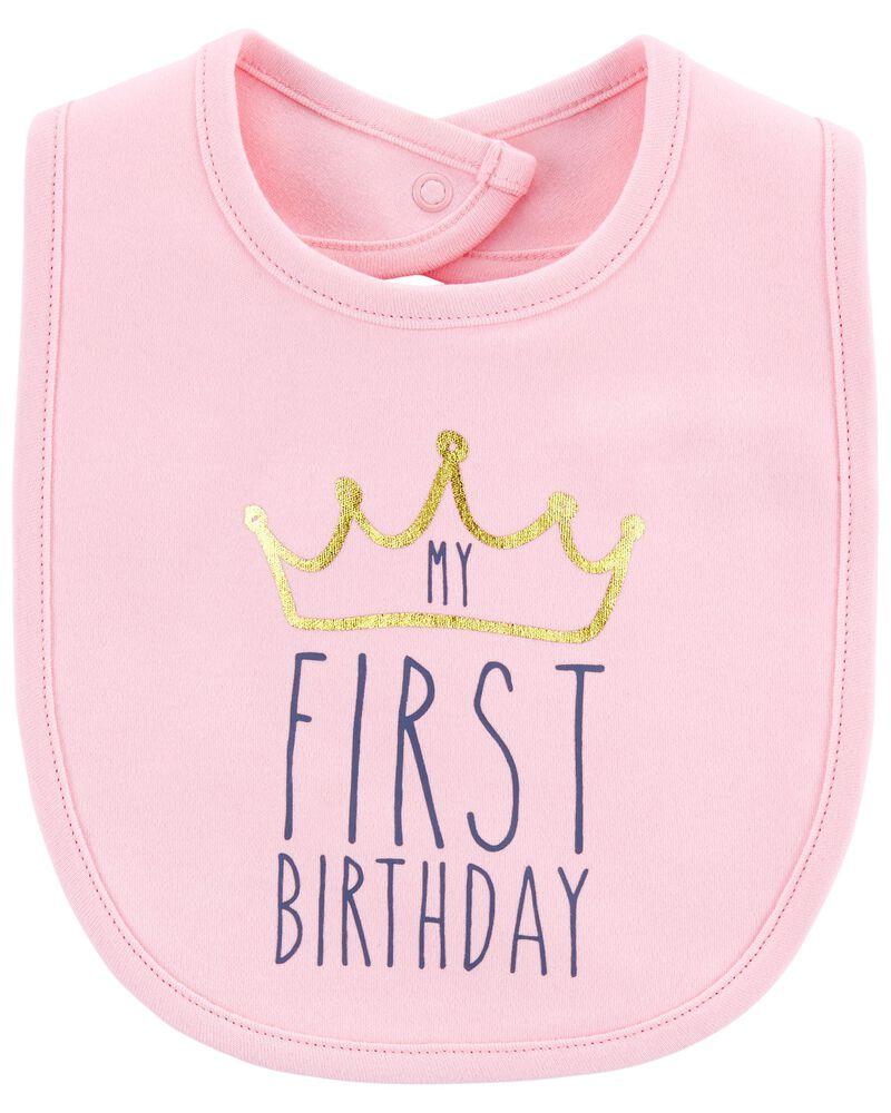 My First Birthday Teething Bib, , hi-res