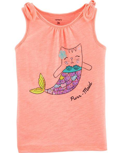 Neon Sequin Cat Mermaid Jersey Tank
