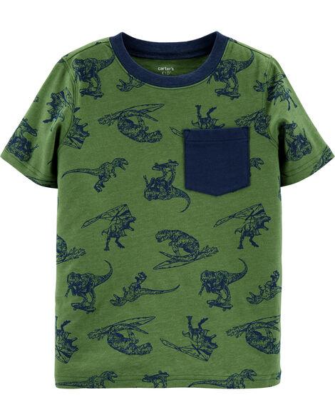T-shirt à poche avec imprimé dinosaure
