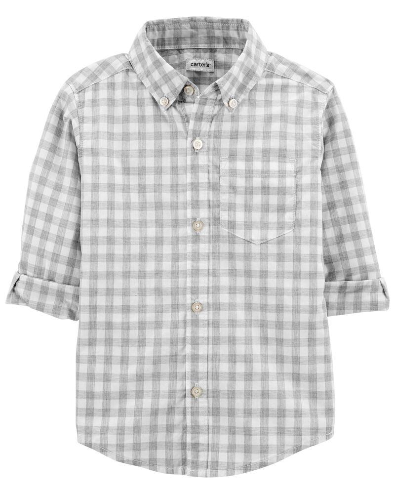 Checkered Plaid Poplin Button-Front Shirt, , hi-res