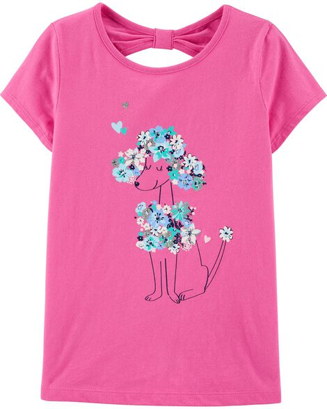 Floral Poodle Bow Back Jersey Tee